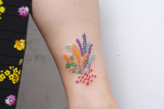 Colorful corals tattoo