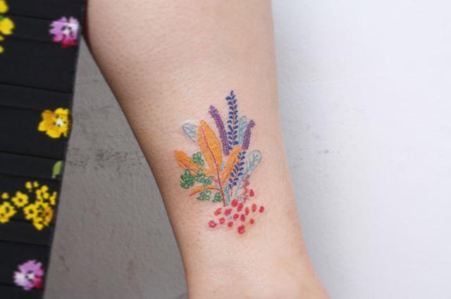 Colorful corals tattoo