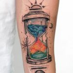 Colorful hourglass tattoo