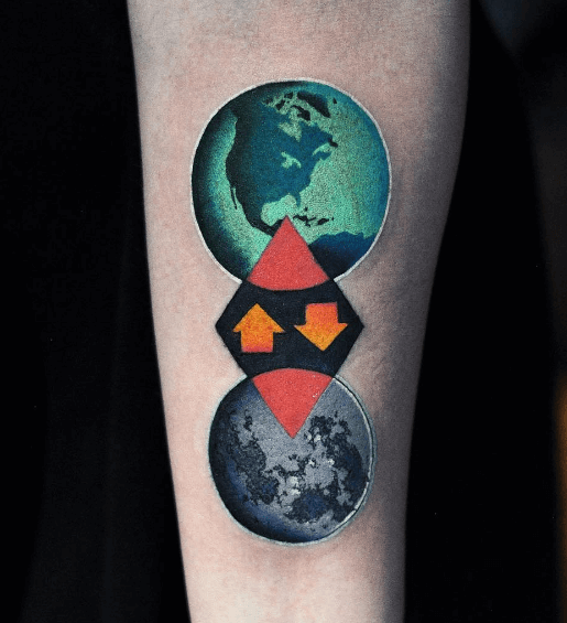 Connection between earth and moon tattoo