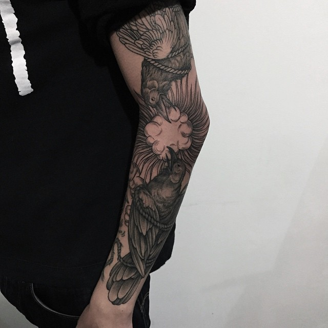 Crows sleeve tattoo