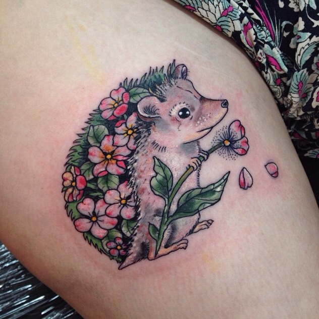 Cute hedgehog tattoo