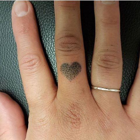 Dot-work small heart tattoo