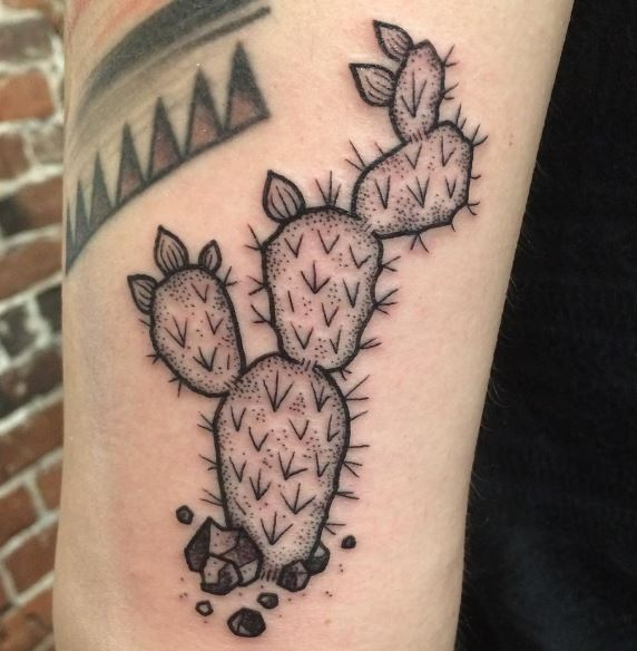Dot work style cactus tattoo