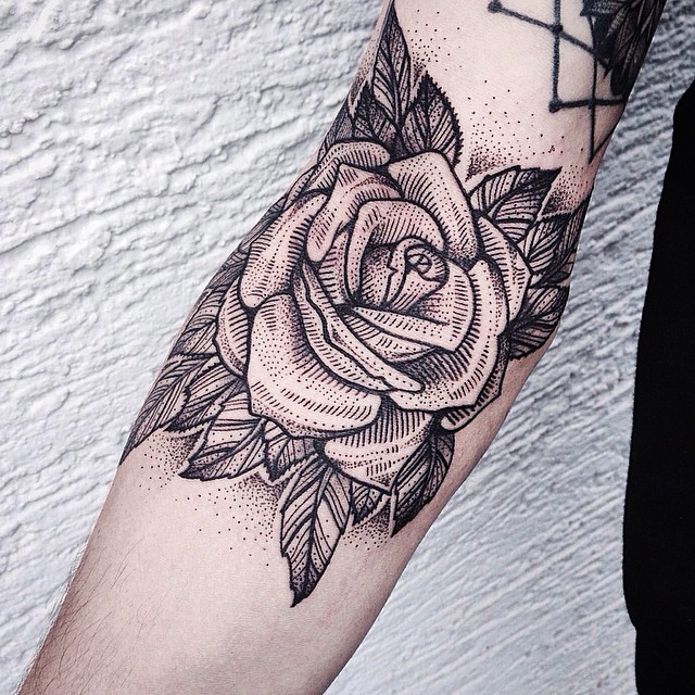 Dotwork black rose on arm