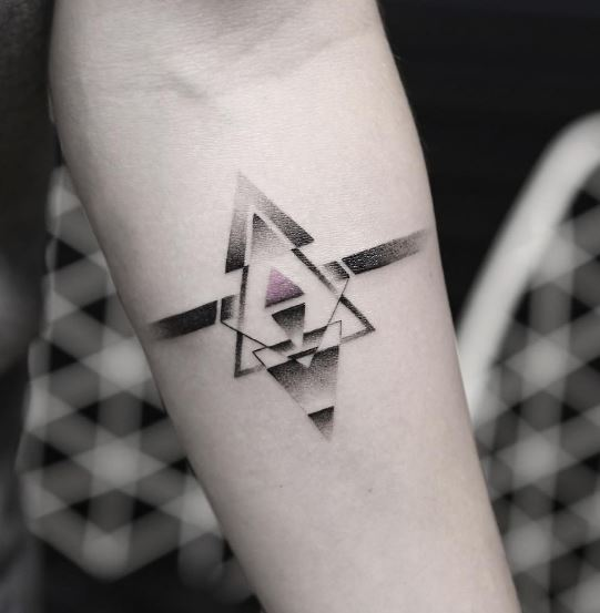 Dotwork geometric armband tattoo