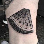 Dotwork slice of a watermelon tattoo