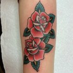 Double traditional rose tattoo