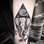 Elephant and galaxy tattoo