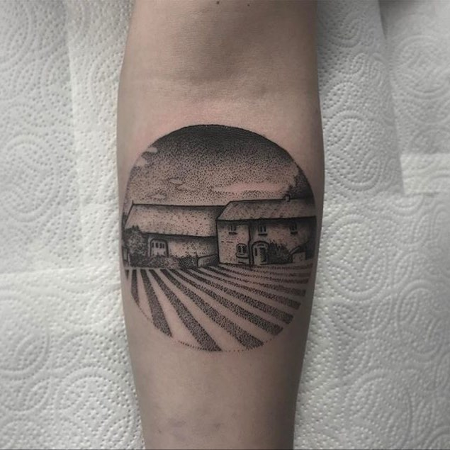 Farm scenery tattoo