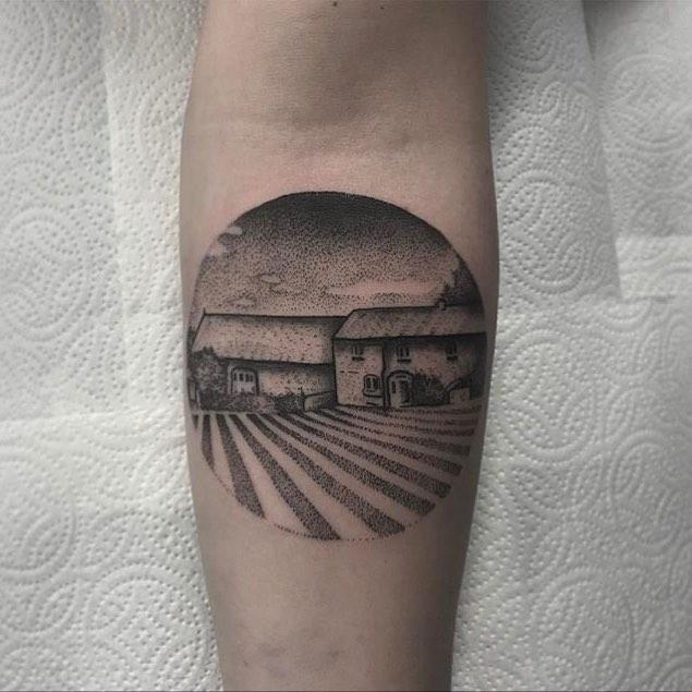 Farm scenery tattoo