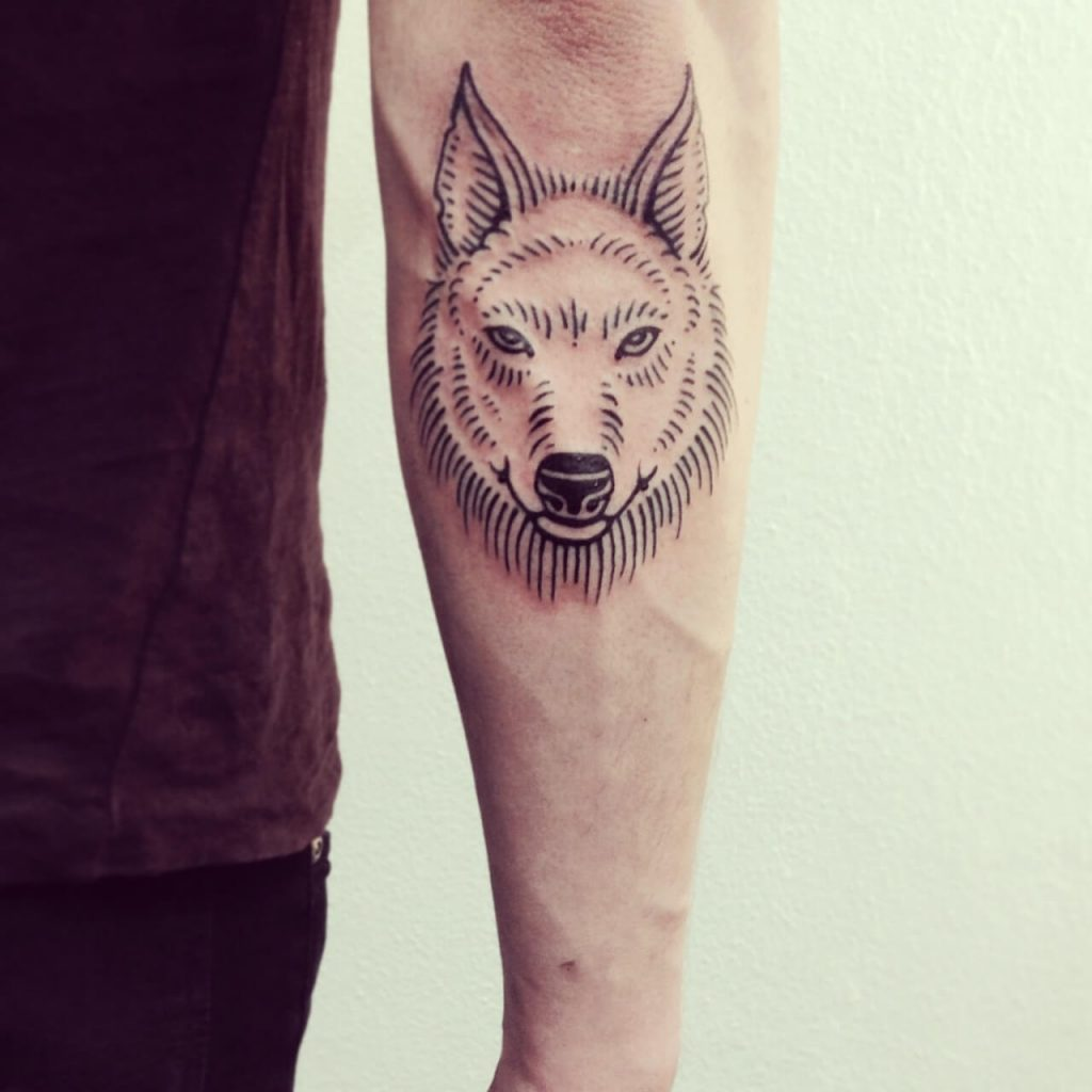 Fine wolf head tattoo