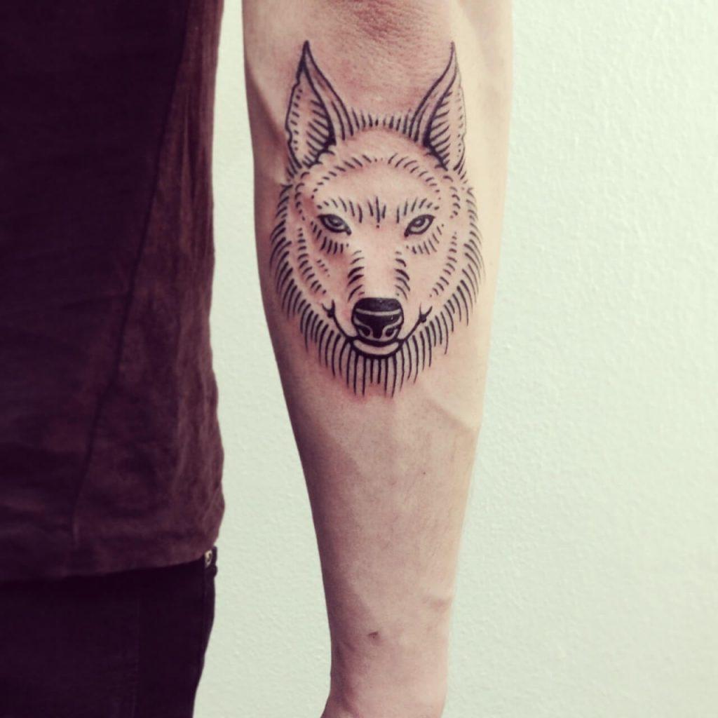 Fine wolf head tattoo
