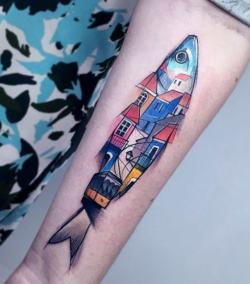 Fish tattoo on the forearm