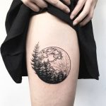 Full moon and forest tattoo