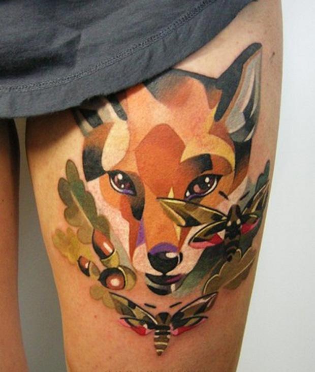 Geometric fox tattoo on thigh