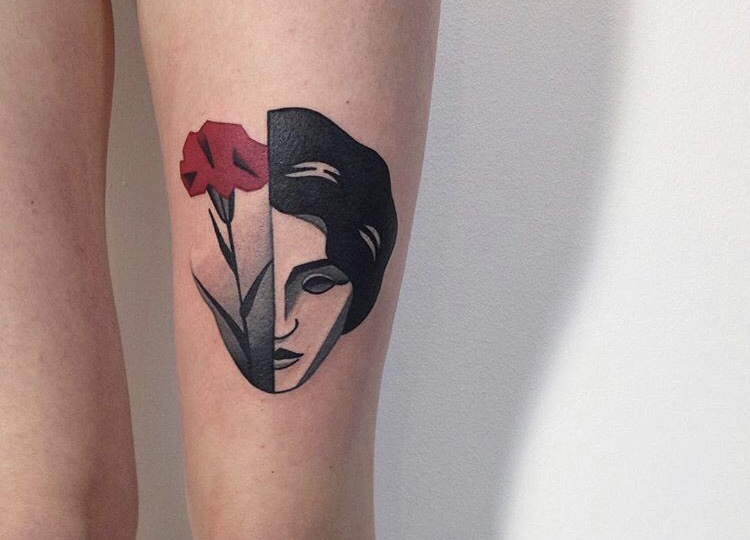 Half rose face tattoo