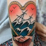 Heart shaped sea tattoo