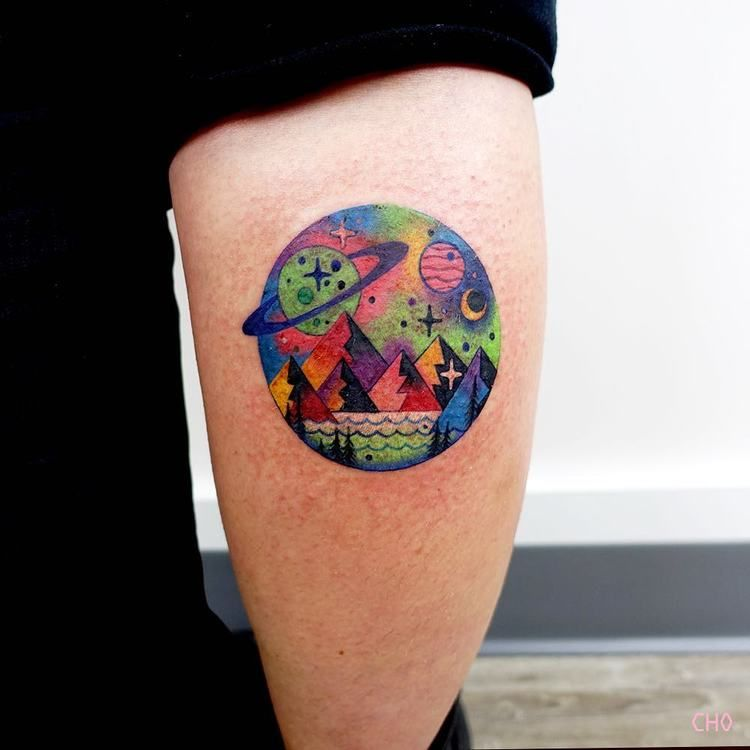Impressive circular landscape tattoo