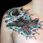 Japanese style shark tattoo