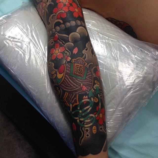Japanese traditional full sleeve tattoo