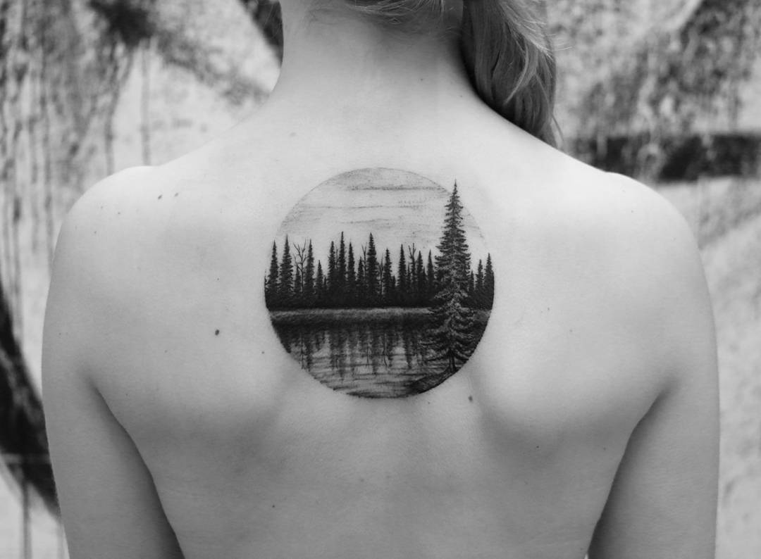 Lake in the forest landscape tattoo