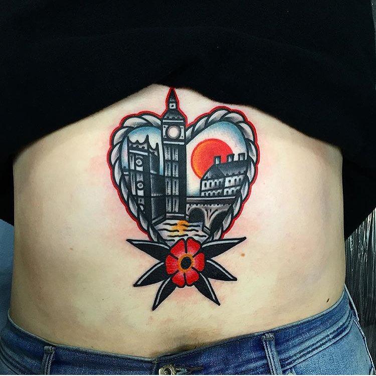 London in a heart tattoo