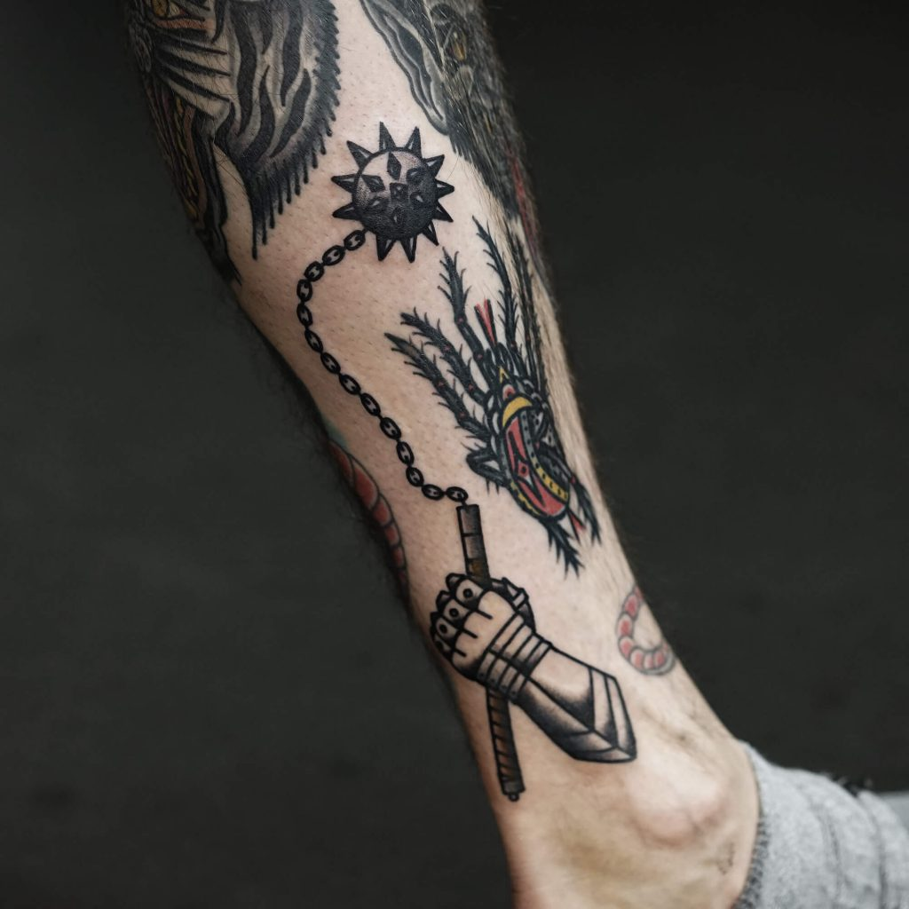 Medieval spiked mace tattoo