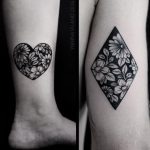 Negative space flower tattoos