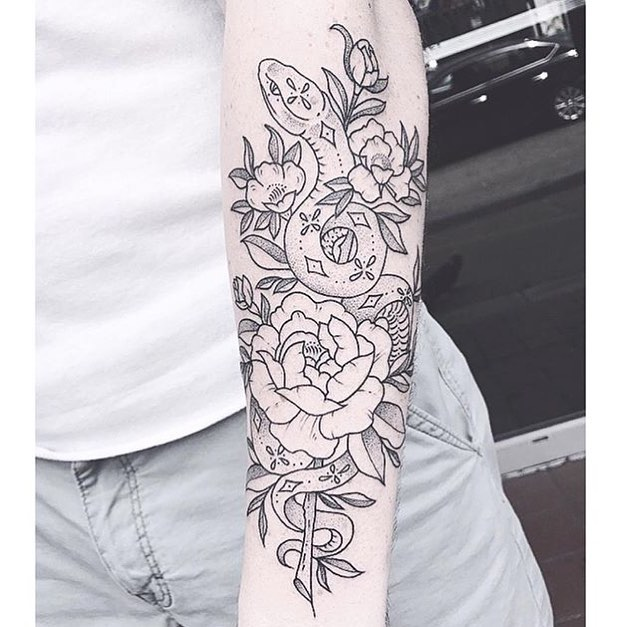 Outline black rose and snake tattoo