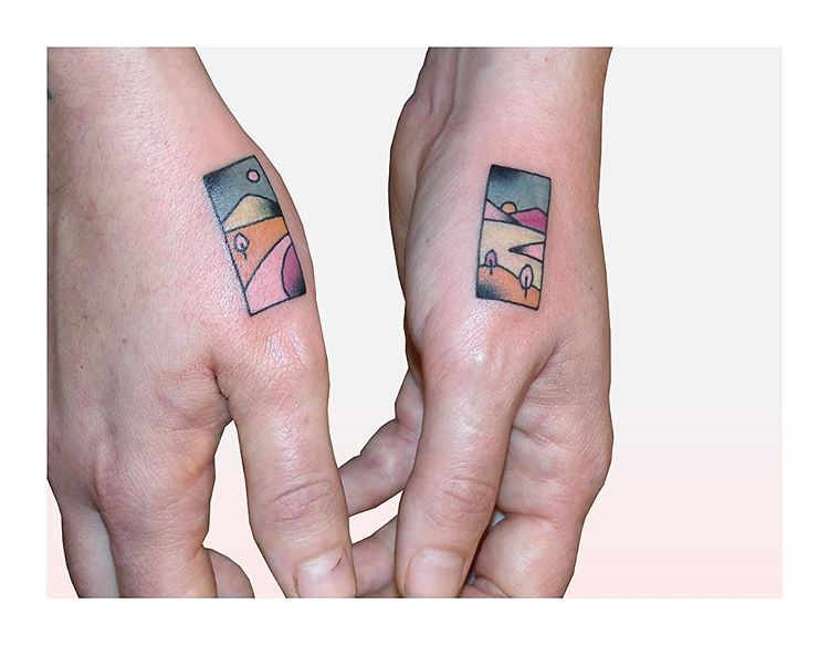 Rectangular landscape tattoos