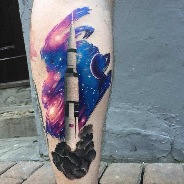 Rocket and space tattoo