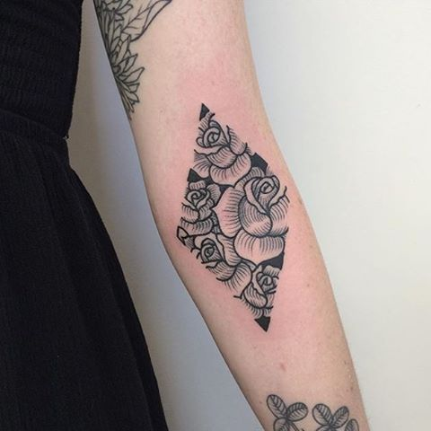 Roses in a rhombus tattoo