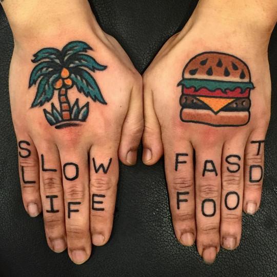 Slow life fast food tattoo