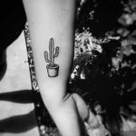 Small cactus in a pot tattoo