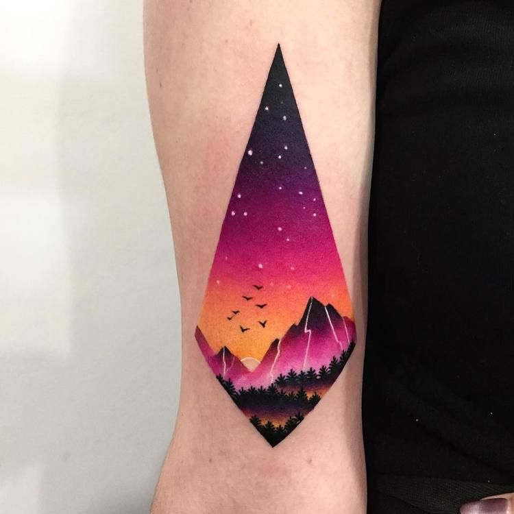 Smooth colors landscape tattoo
