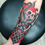 Squid and skull tattoo