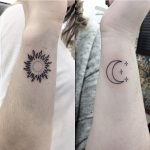 Sun and moon wrist tattoos