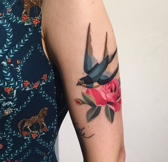 Swallow and rose tattoo