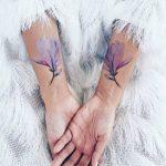 Temporary violet flower tattoos