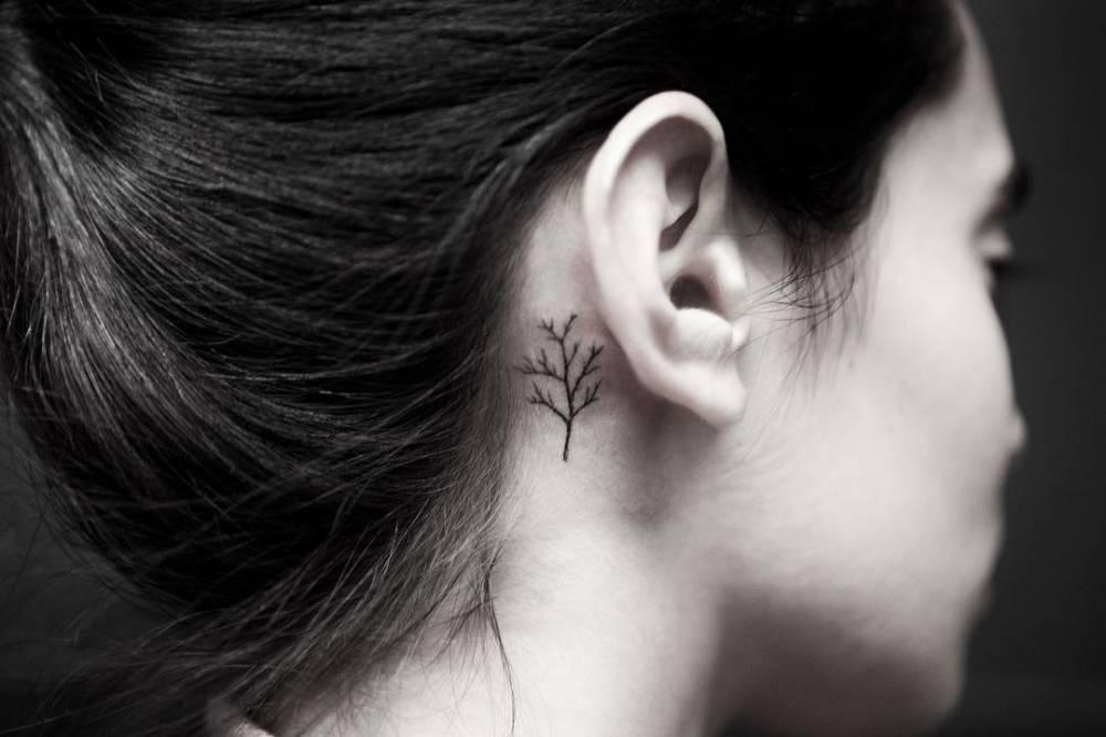 Tiny tree tattoo behind the ear
