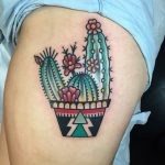Traditional cactus in a pot tattoo