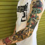Traditional sleeve tattoo