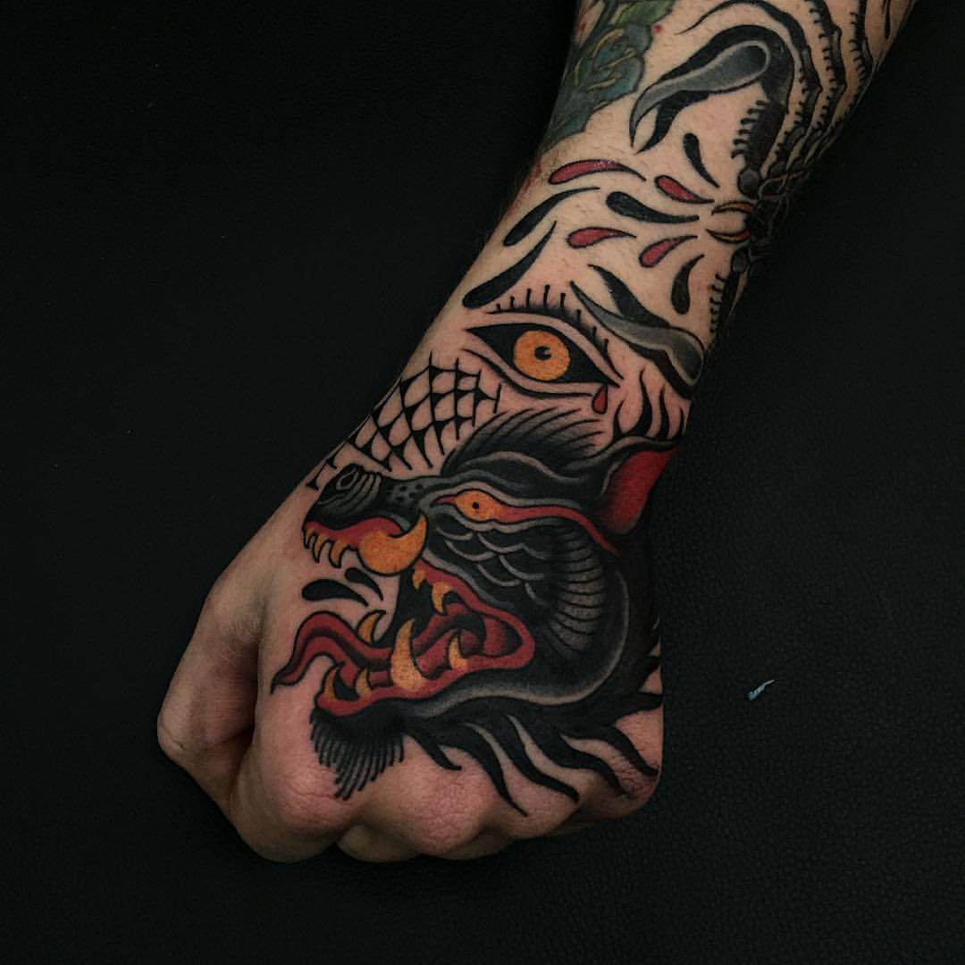 Traditionally inked arm
