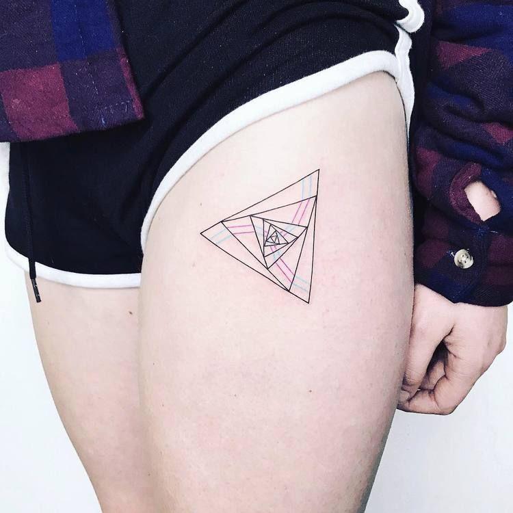 Triangle in a triangle tattoo