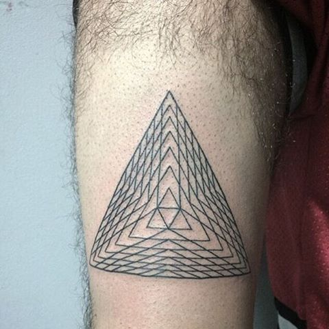 Triangle tattoo with a sacred geometry insdie