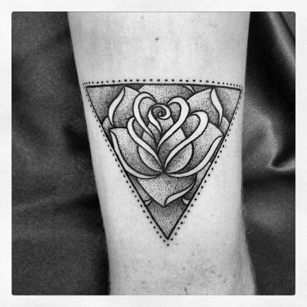 Triangular rose tattoo