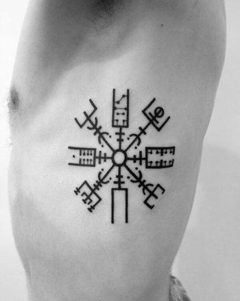 Vegvisir tattoo on the rib cage