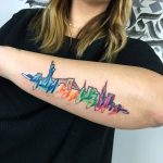 Watercolor city tattoo