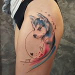 Watercolor dog tattoo